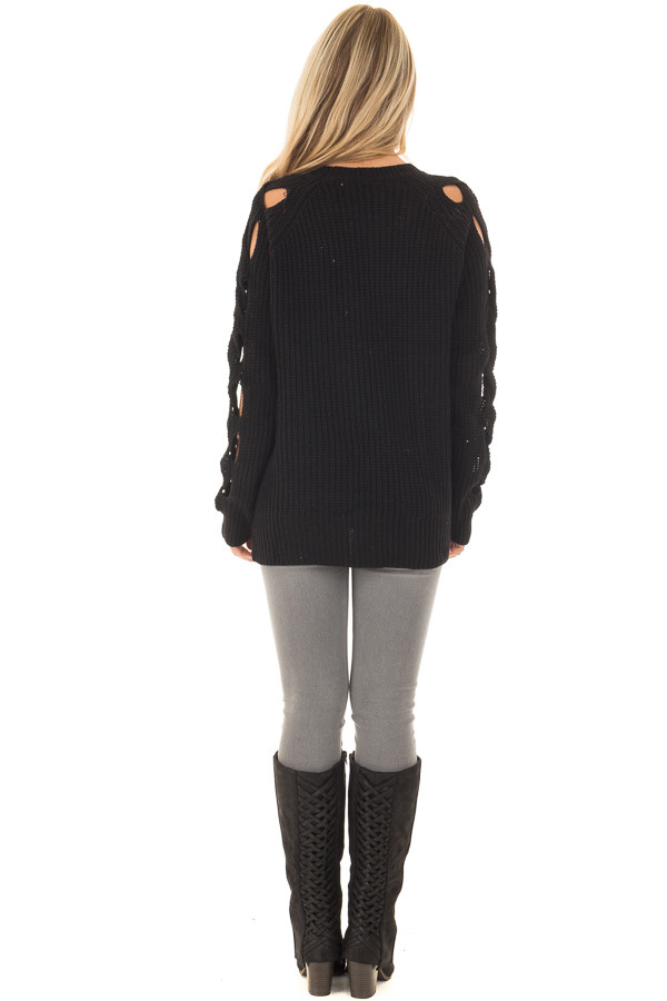 Black Long Sleeve Sweater with Cut Out Sleeve Detail back full body