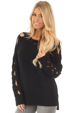Black Long Sleeve Sweater with Cut Out Sleeve Detail front close up
