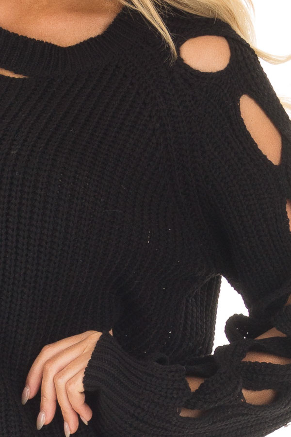 Black Long Sleeve Sweater with Cut Out Sleeve Detail detail