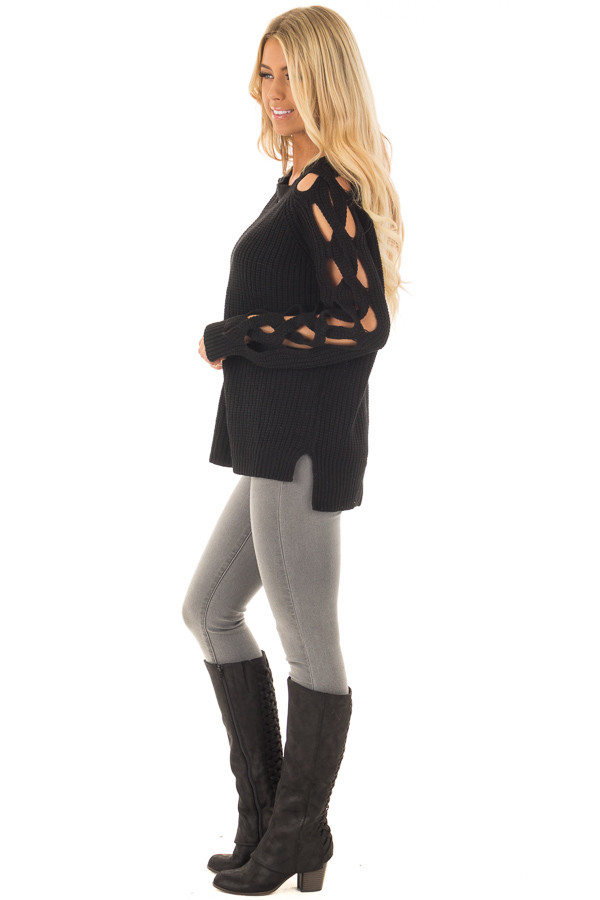 Black Long Sleeve Sweater with Cut Out Sleeve Detail side full body