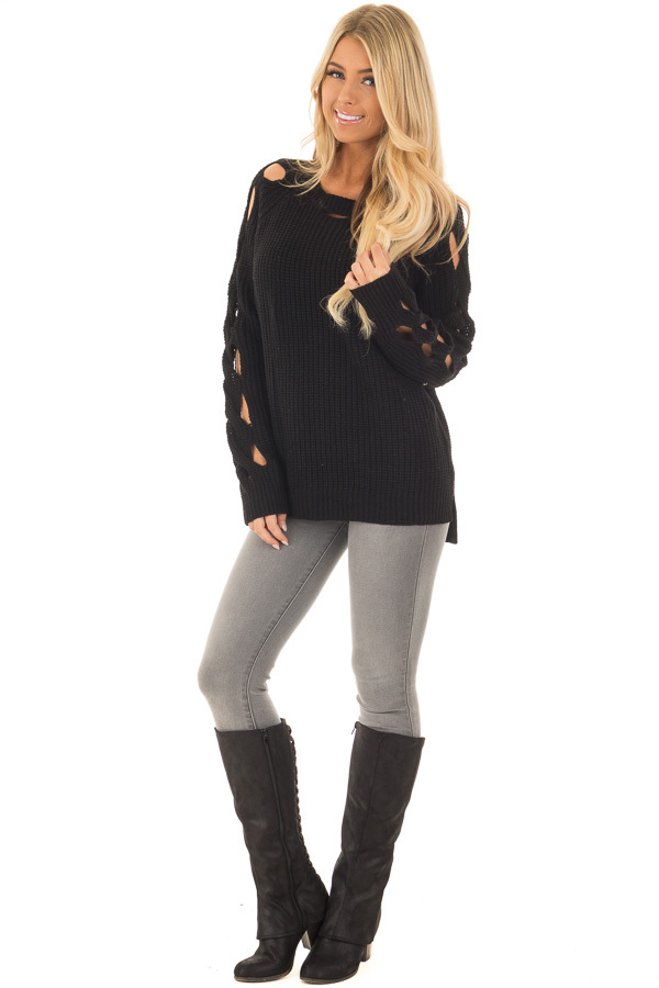 Black Long Sleeve Sweater with Cut Out Sleeve Detail front full body