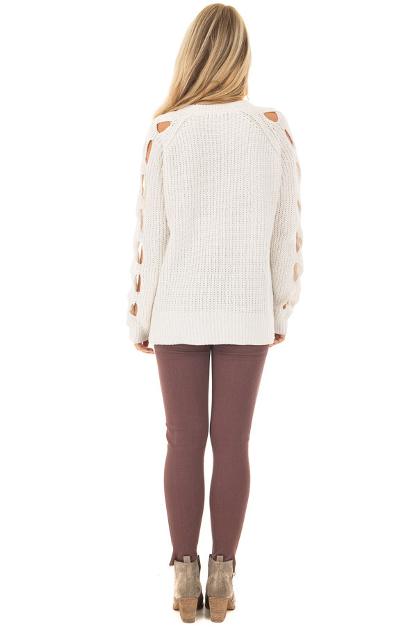 Off White Long Sleeve Sweater with Cut Out Sleeve Detail - Lime ...