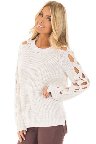 Off White Long Sleeve Sweater with Cut Out Sleeve Detail front close up