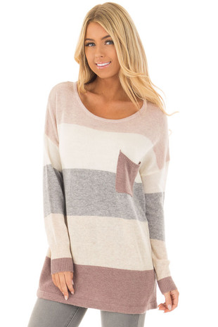 Mauve and Cream Striped Sweater with Breast Pocket front closeup