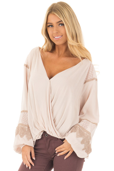 Taupe Long Puff Sleeve Top with Embroidery Lace and Mesh front close up