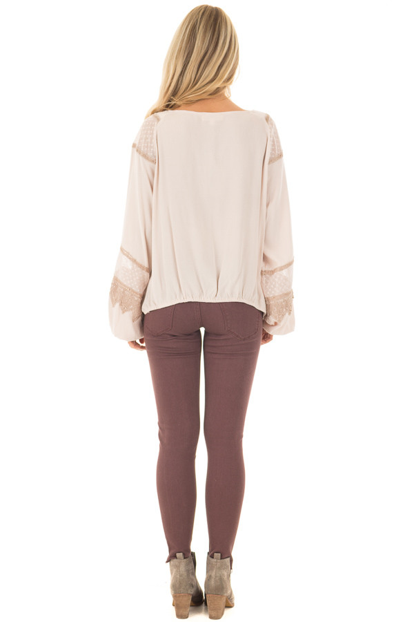 Taupe Long Puff Sleeve Top with Embroidery Lace and Mesh back full body