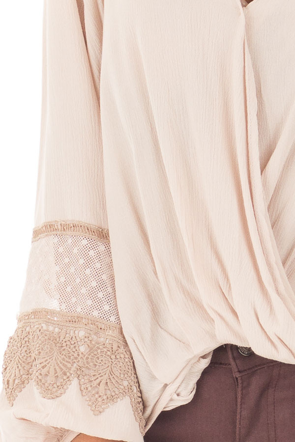Taupe Long Puff Sleeve Top with Embroidery Lace and Mesh detail