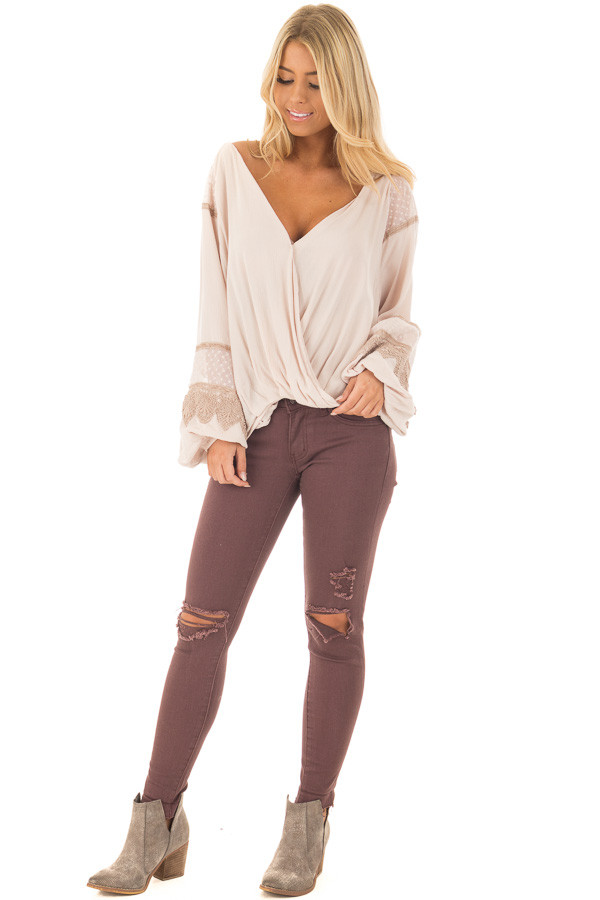 Taupe Long Puff Sleeve Top with Embroidery Lace and Mesh front full body