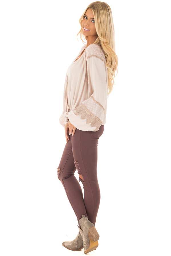 Taupe Long Puff Sleeve Top with Embroidery Lace and Mesh side full body