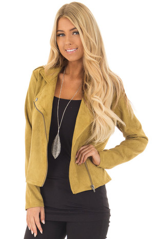 Mustard Faux Suede Jacket with Pockets and Asymmetric Zipper front close up
