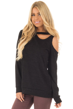 Black Long Sleeve Top with Cut Out Neck and Shoulder Detail front closeup