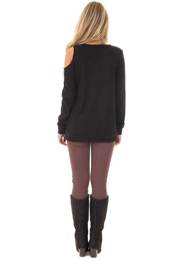 Black Long Sleeve Top with Cut Out Neck and Shoulder Detail back full body