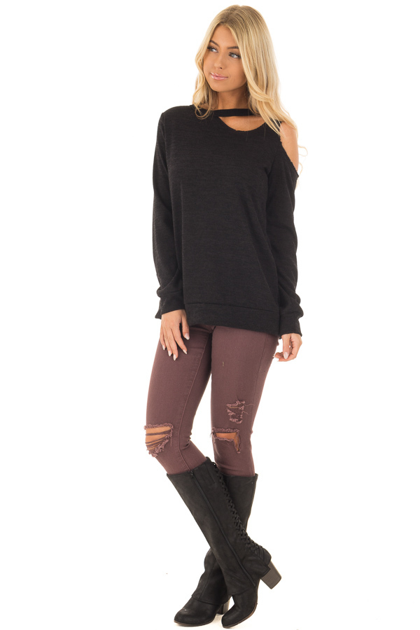 Black Long Sleeve Top with Cut Out Neck and Shoulder Detail front full body