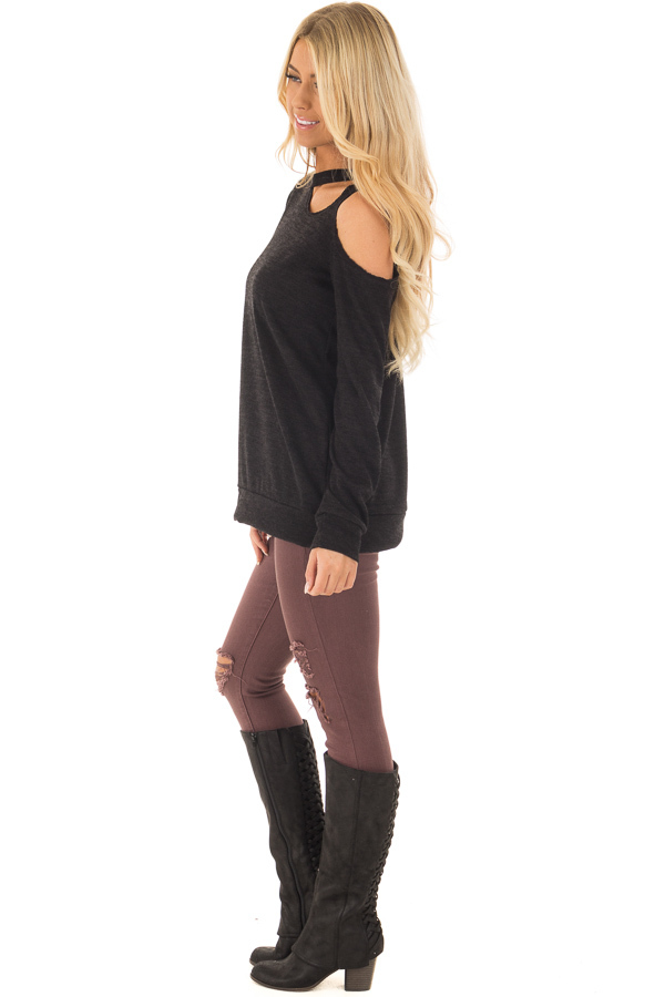 Black Long Sleeve Top with Cut Out Neck and Shoulder Detail side full body