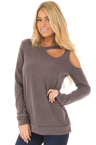 Mocha Long Sleeve Top with Cut Out Neck and Shoulder Detail front close up