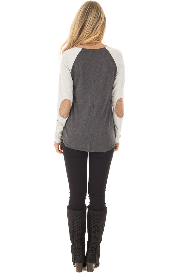 Charcoal Raglan Long Sleeve Top with Faux Suede Detail back full body