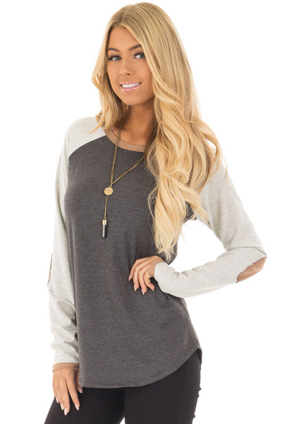 Charcoal Raglan Long Sleeve Top with Faux Suede Detail front closeup