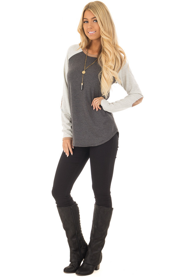Charcoal Raglan Long Sleeve Top with Faux Suede Detail front full body