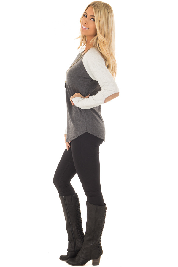 Charcoal Raglan Long Sleeve Top with Faux Suede Detail side full body