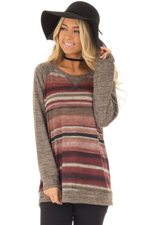 Mauve Striped Raglan Top with Mocha Sleeves front closeup