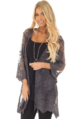 Charcoal Floral Embroidery Lace Open Cardigan front closeup