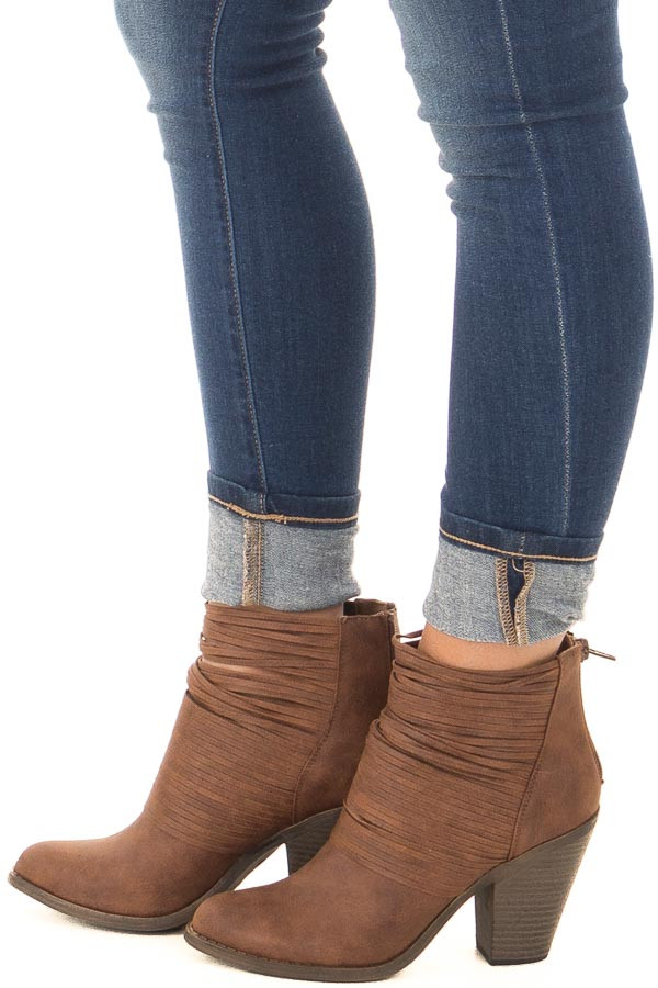 Cognac Faux Leather Bootie with Strappy Front Detail side view