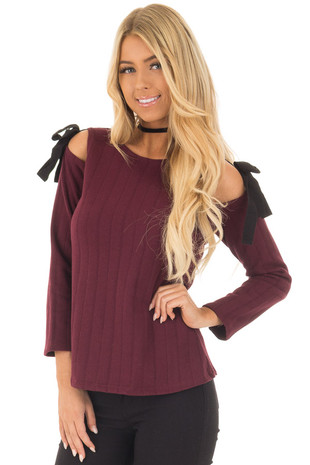 Burgundy Tie Cold Shoulder Long Sleeve Top front closeup