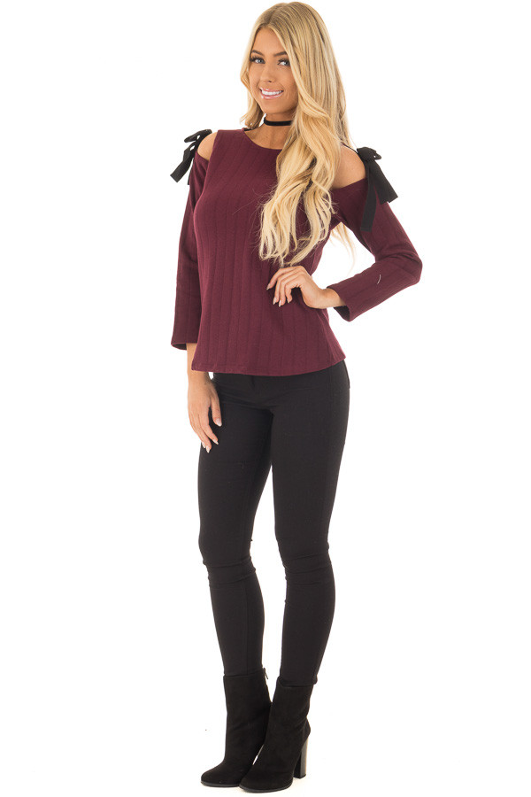Burgundy Tie Cold Shoulder Long Sleeve Top front full body