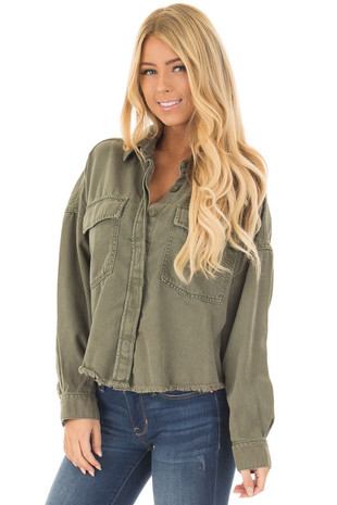 Olive Long Sleeve Button Up Jacket with Distressed Hemline front close up
