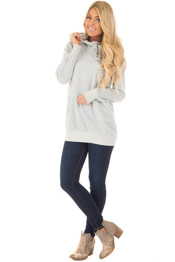 Heather Grey Hoodie with Zipper and Snap Details front full body