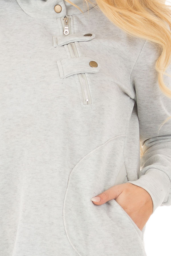 Heather Grey Hoodie with Zipper and Snap Details front detail