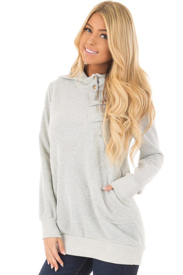 Heather Grey Hoodie with Zipper and Snap Details front closeup