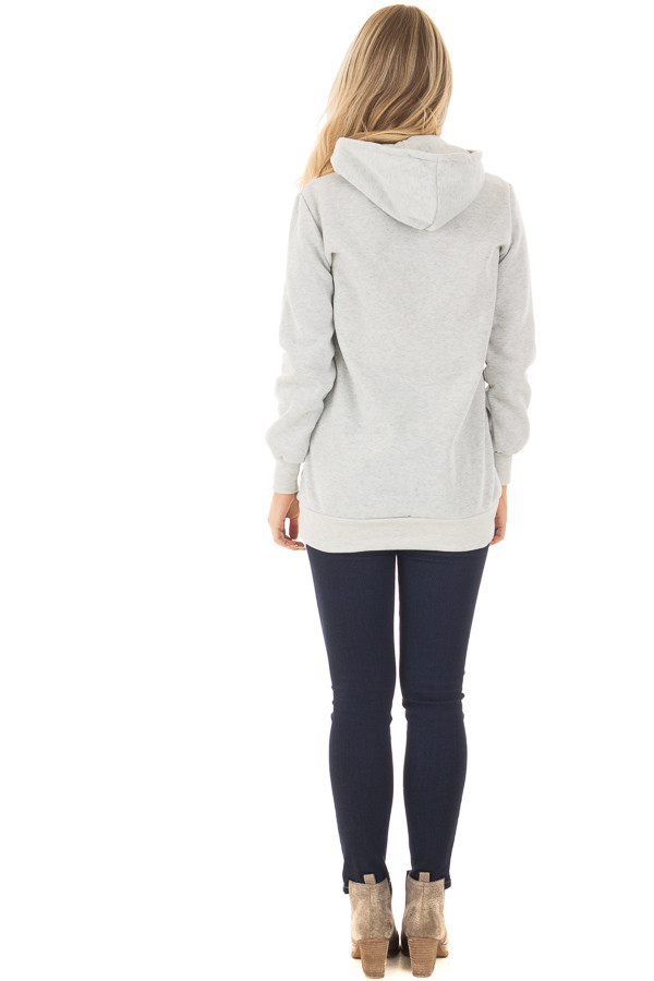 Heather Grey Hoodie with Zipper and Snap Details back full body