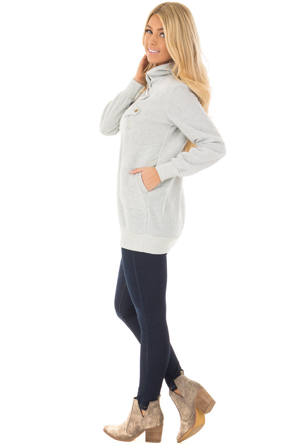 Heather Grey Hoodie with Zipper and Snap Details side full body