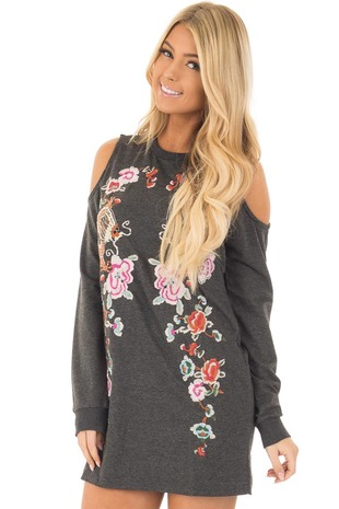 Charcoal Cold Shoulder Tunic with Colorful Embroidery front closeup