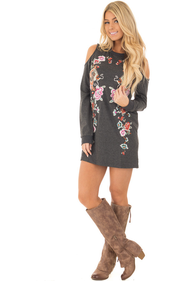 Charcoal Cold Shoulder Tunic with Colorful Embroidery front full body