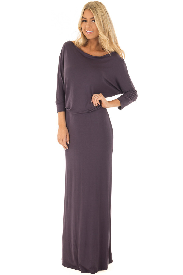 Dark Steel Grey Cowl Neck Dolman Maxi Dress front full body