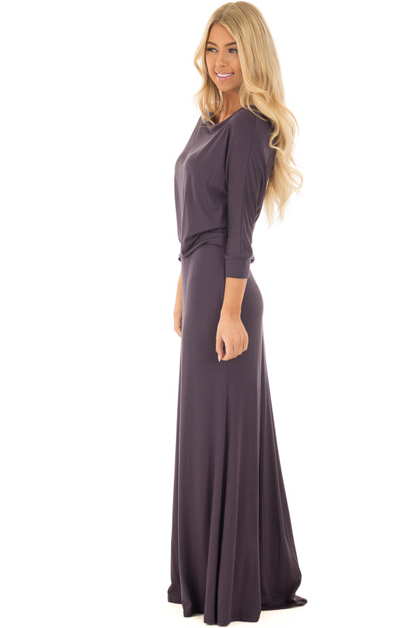 Dark Steel Grey Cowl Neck Dolman Maxi Dress side full body