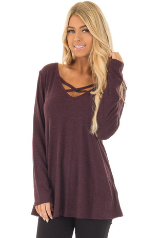 Wine Long Sleeve with Criss Cross V Neck Top front closeup