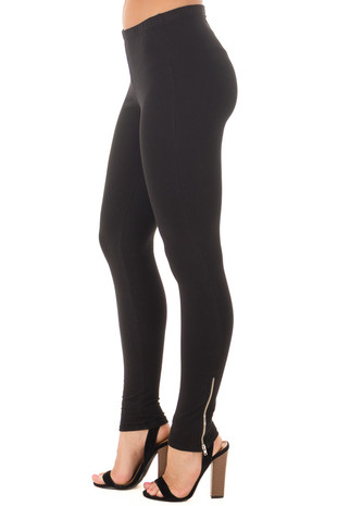 Black Leggings with Side Zippers side view