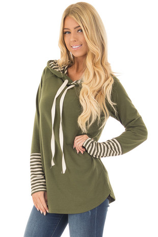 Olive Long Sleeve Hoodie with Striped Ribbed Contrast front close up