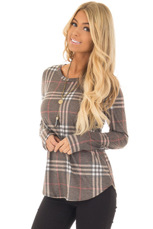 Dusty Mocha Plaid Jersey Knit Long Sleeve Top front close up