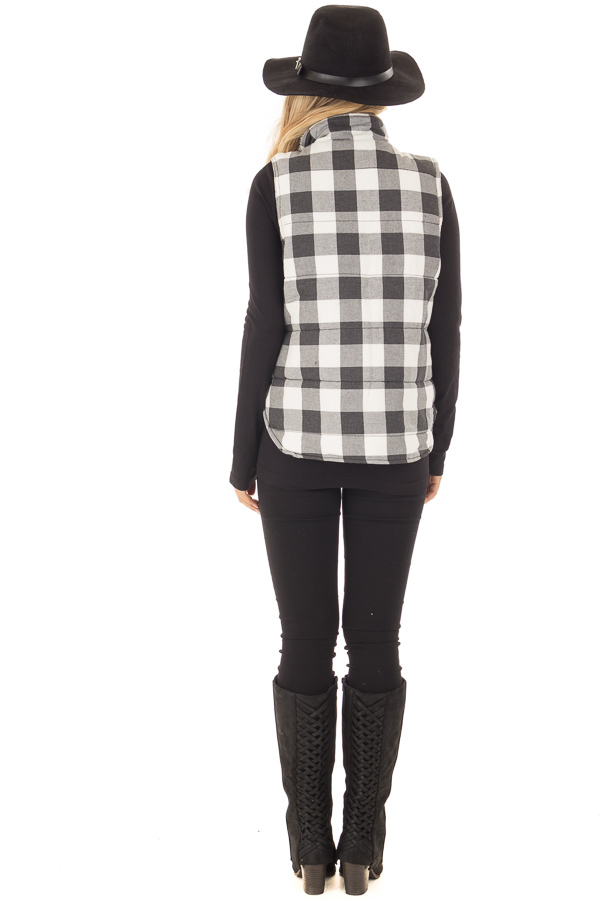 Grey Plaid Puffer Vest with Side Pockets and Fur Lining back full body