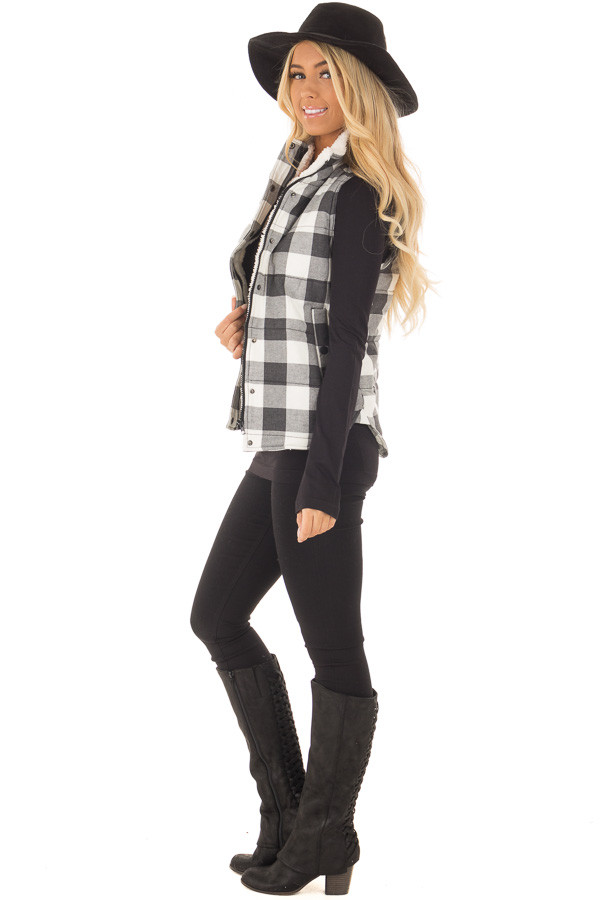 Grey Plaid Puffer Vest with Side Pockets and Fur Lining side full body
