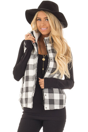 Grey Plaid Puffer Vest with Side Pockets and Fur Lining front close up