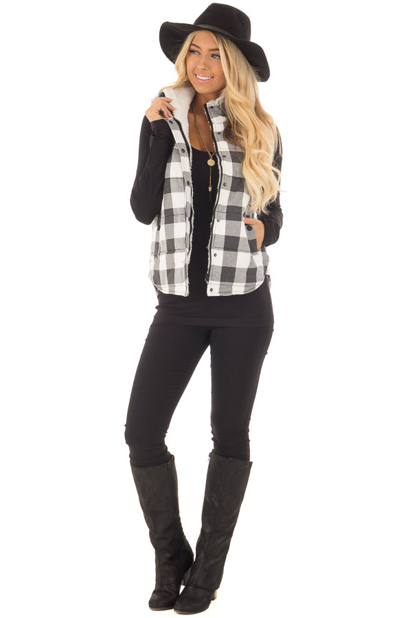 Grey Plaid Puffer Vest with Side Pockets and Fur Lining front full body