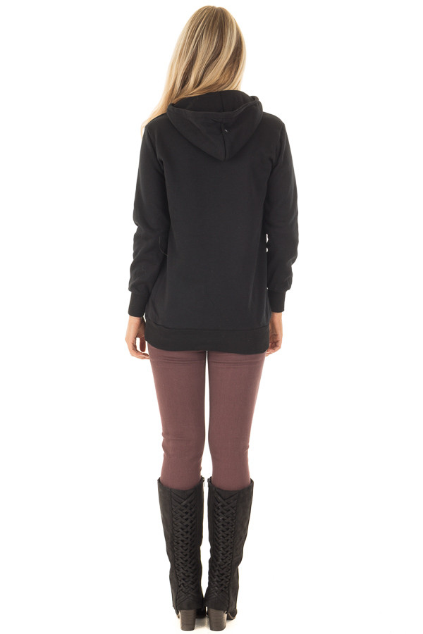 Black Hoodie with Zipper and Snap Details back full body
