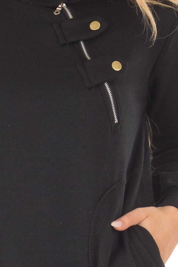 Black Hoodie with Zipper and Snap Details detail