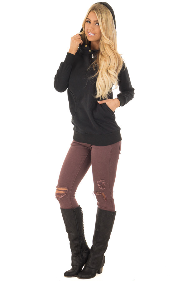 Black Hoodie with Zipper and Snap Details front full body