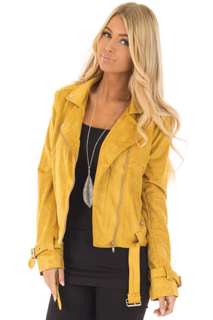 Mustard Faux Suede Moto Jacket with Buckle Detail front close up
